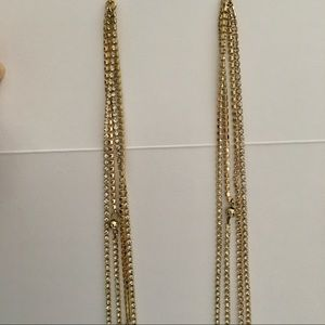 Jewelry - Long gold toned w/ crystal strands hanging earring
